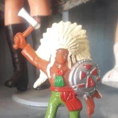 Figuras de Goma y PVC: COMANSI - FIGURA GUERRERO JEFE INDIO A PIE.OESTE. 8CM. Lote 288560858