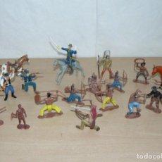 Figuras de Goma y PVC: COMANSI 20 FIGURAS REEDICIÓN AÑOS 00 FAR WEST OESTE INDIOS VAQUEROS COWBOYS 7º CABALLERIA GOMA. Lote 288642228