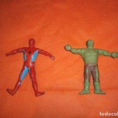 Figuras de Goma y PVC: FIGURAS DE GOMA FLEXIBLE CON ALAMBRE HULK Y SPIDERMAN - VICMA. Lote 289734828