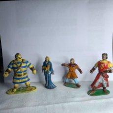 Figuras de Goma y PVC: SERIE CAPITAN TRUENO - CAPITAN TRUENO, GOLIATH, SIGRID Y CRISPIN ESTEREOPLAST. AÑOS 50. Lote 290111693