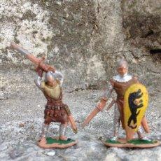 Figuras de Goma y PVC: SOLDADOS ANTIGUOS SERIE MEDIEVAL PLÁSTICO AÑOS 60/70. Lote 292573843