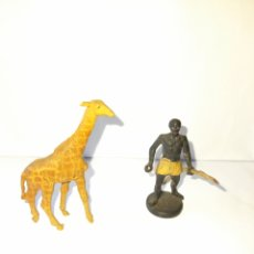 Figuras de Goma y PVC: FIGURAS GOMA DURA SAFARI CAZADOR Y JIRAFA. Lote 295964683