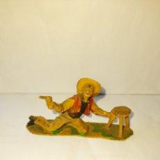 Figuras de Goma y PVC: FIGURA VAQUERO CON TABURETE,. Lote 295965403