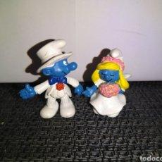 Figuras de Goma y PVC: FIGURAS PVC PITUFOS NOVIOS SCHLEICH SMURFS SMURF ENAMORADOS CASADOS PAREJA MUJER MARIDO WIFE HUSBAND. Lote 296865423