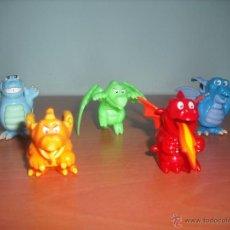Figuras Kinder: DRAGONES - SALÍAN EN HUEVOS KINDER SORPRESA - LOTE DE 5 MUÑECOS - DRAGÓN. Lote 54502139