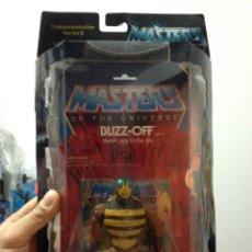 Figuras Masters del Universo: LOTE BLISTER PRECINTADO CON CAJA NEGRA PROTECTORA BUZZ OFF BUZZOFF MASTERS UNIVERSO COMPLETO HE MAN. Lote 136376484