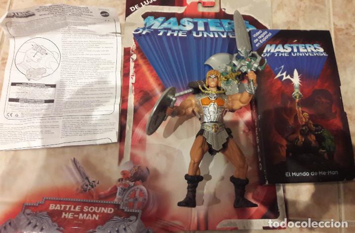 HE-MAN BATTLE SOUND MASTERS DEL UNIVERSO CON SONIDO PELICULA VHS EL MUNDO DE HE-MAN INSTRUCCIONES (Juguetes - Figuras de Acción - Master del Universo)