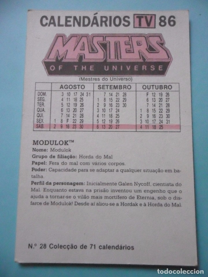 Figuras Masters del Universo: MOTU MASTERS OF THE UNIVERSE CALENDARIO MATTEL 1986 - Foto 2 - 174094143