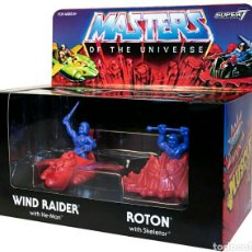 Figuras Masters del Universo: PACK 4 FIGURAS ´MUSCLE´ WIND RAIDER, HE-MAN, NAVE ROTON SKELETOR MASTERS OF UNIVERSE SUPER7. Lote 176180040