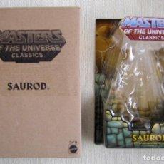 Figuras Masters del Universo: BLISTER Y CAJA MARRÓN DE LA FIGURA DE SAUROD DE LOS MASTERS DEL UNIVERSO UNIVERSE MOTU CLASSICS. Lote 184100327