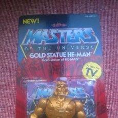 Figuras Masters del Universo: MASTERS DEL UNIVERSO BLÍSTER ORIGINAL(SIN ABRIR)*GOLD STATUE HE-MAN*ARMADURA,ESPADA,ESCU-MATTEL-MOTO. Lote 186413873