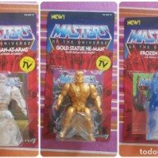 Figuras Masters del Universo: CRYSTAL MAN-AT-ARMS, GOLD HE-MAN, FROZEN TEELA SUPER7 MASTERS DEL UNIVERSO SUPER7. Lote 189199442