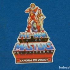Figuras Masters del Universo: (ALB2) PEGATINA HE-MAN Y LOS MASTERS DEL UNIVERSO ¡AHORA EN VIDEO! NUNCA PEGADO. Lote 195300772