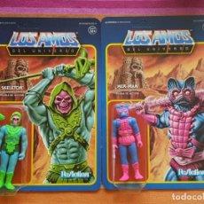 Figuras Masters del Universo: SKELETOR & MER-MAN LOS AMOS UNIVERSO MASTERS OF THE UNIVERSE REACTION SUPER7. Lote 200785025