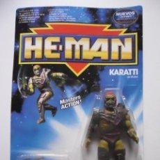 Figuras Masters del Universo: HE-MAN THE NEW ADVENTURES KARATTI EN BLISTER MATTEL 1990 (BLISTER ROTO POR UN LATERAL). Lote 218517230