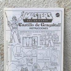 Figuras Masters del Universo: INSTRUCCIONES MASTERS DEL UNIVERSO CASTILLO GRAYSKULL MATTEL 20X15CMS. Lote 269120598