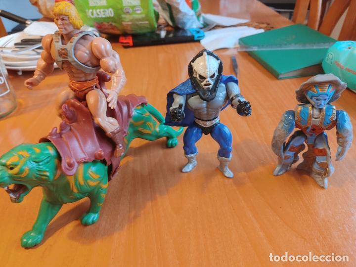 LOTE MASTER DEL UNIVERSO MOTU HEMAN, BATTLE CAT TIGRE COMBATE CON SILLA, HORDAK Y ROKKON STONE (Juguetes - Figuras de Acción - Master del Universo)