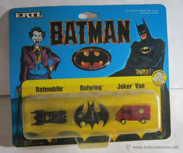 BATMAN ERTL, BATMOBILE, BATWING Y JOKER BAN, METALICA, AÑO 1989, EN BLISTER. CC (Juguetes - Figuras de Acción - DC)