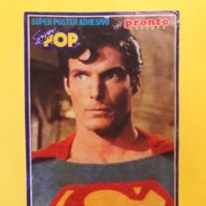 Figuras y Muñecos DC: PEGATINA SUPERMAN REVISTA PRONTO Y SUPER POP CHRISTOPHER REEVE 15X9,1 CM. Lote 177537413