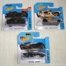 Figurines et Jouets DC: LOTE TRES COCHES BATMAN BATMÓVIL DE HOT WHEELS DC COMICS. Lote 210639600