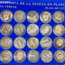 Figuras y Muñecos DC: COLECCION HISTORIA DE LA PESETA CON 20 MONEDAS EN PLATA DE LEY. Lote 247366565
