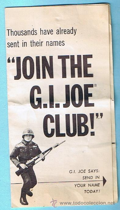 JOIN THE GI JOE CLUB! FIVE MEMBERSHIP EXTRAS. FOLLETO 1964 SERIES. ORIGINAL DE LA EPOCA (Juguetes - Figuras de Acción - GI Joe)