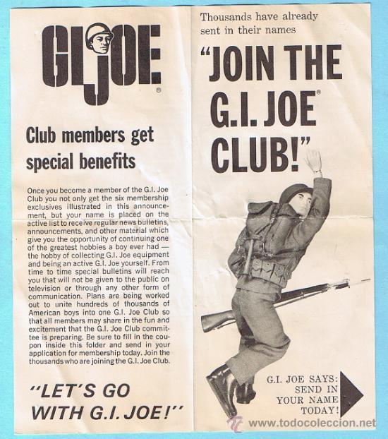 JOIN THE GI JOE CLUB! SIX MEMBERSHIP EXTRAS. FOLLETO 1964 SERIES. ORIGINAL DE LA EPOCA (Juguetes - Figuras de Acción - GI Joe)