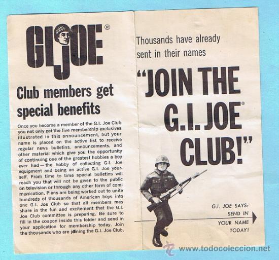 Figuras y Muñecos Gi Joe: JOIN THE GI JOE CLUB! FIVE MEMBERSHIP EXTRAS. FOLLETO 1964 SERIES. ORIGINAL DE LA EPOCA - Foto 2 - 35779853