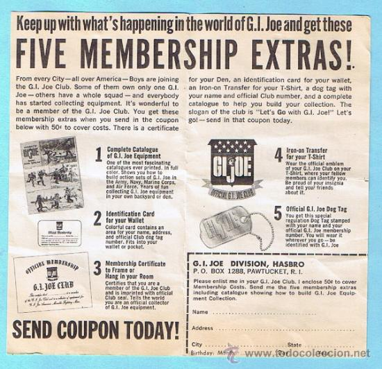 Figuras y Muñecos Gi Joe: JOIN THE GI JOE CLUB! FIVE MEMBERSHIP EXTRAS. FOLLETO 1964 SERIES. ORIGINAL DE LA EPOCA - Foto 3 - 35779853