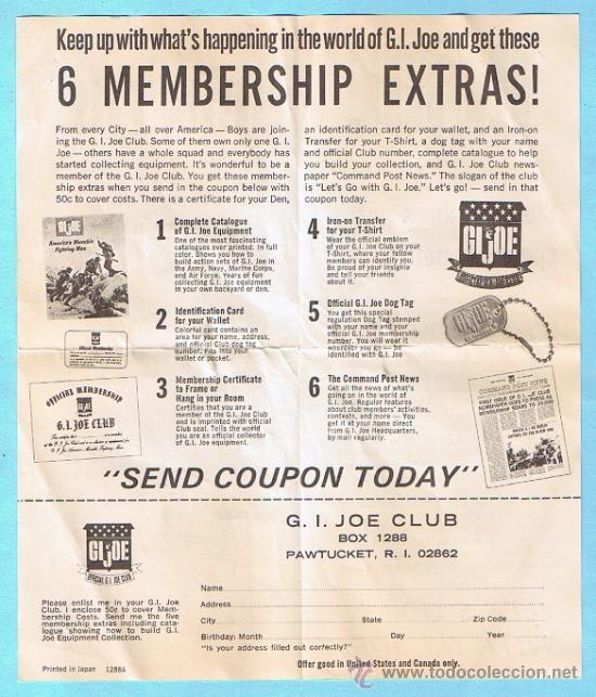 Figuras y Muñecos Gi Joe: JOIN THE GI JOE CLUB! SIX MEMBERSHIP EXTRAS. FOLLETO 1964 SERIES. ORIGINAL DE LA EPOCA - Foto 2 - 35779978