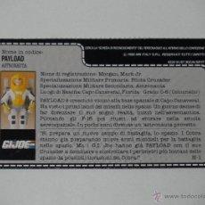 Figure e Bambolotti Gi Joe: GI JOE - FICHA PAYLOAD EN EXCELENTE ESTADO Y EN ITALIANO (AÑO 1990). S_N. Lote 40920292