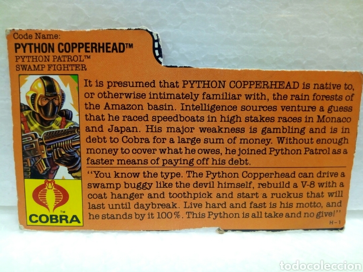 Figuras y Muñecos Gi Joe: Gi Joe PYTHON PATROL COPPERHEAD V.2 de 1989. Completa con Filecard en inglés. - Foto 6 - 145671366