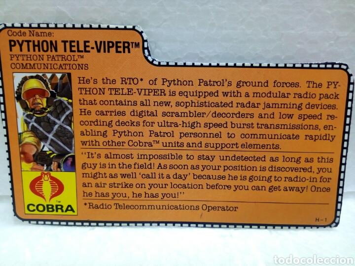 Figuras y Muñecos Gi Joe: Gi Joe PYTHON PATROL TELE-VIPER V.2 de 1989. Completa con Filecard en inglés. - Foto 5 - 145671818