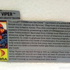 Figuras y Muñecos Gi Joe: GI JOE FILECARD ALLEY VIPER V.1 DE 1989. USA. Lote 165800674