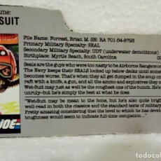 Figuras y Muñecos Gi Joe: GI JOE FILECARD WET-SUIT V.1 DE 1986. USA. Lote 165954822