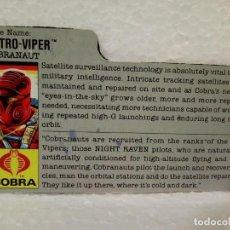 Figuras y Muñecos Gi Joe: GI JOE FILECARD ASTRO-VIPER V.1 DE 1988 . USA. Lote 165955498