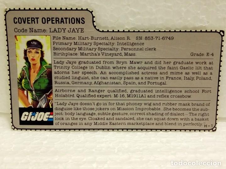 Figuras y Muñecos Gi Joe: Gi Joe LADY JAYE V.1 de 1985. COVERT OPERATIONS. Con Filecard USA. - Foto 7 - 166844226