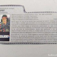 Figuras y Muñecos Gi Joe: FICHA FIGURA GI JOE/SPIRIT-RASTREADOR.. Lote 176336210