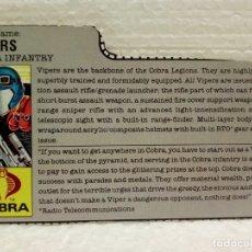 Figuras y Muñecos Gi Joe: GI JOE FILECARD VIPERS V.1 DE 1986. COBRA INFANTRY. EN USA. Lote 177552334