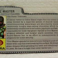 Figuras y Muñecos Gi Joe: GI JOE FILECARD CROC MASTER V.1 DE 1987. COBRA REPTILE TRAINER. EN INGLÉS USA. Lote 177552887