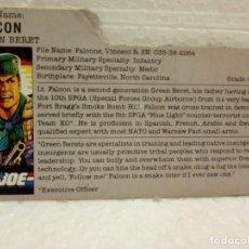 Figuras y Muñecos Gi Joe: GI JOE FILECARD FALCON V.1 DE 1987. GREEN BERET. EN INGLÉS USA. . Lote 177554642