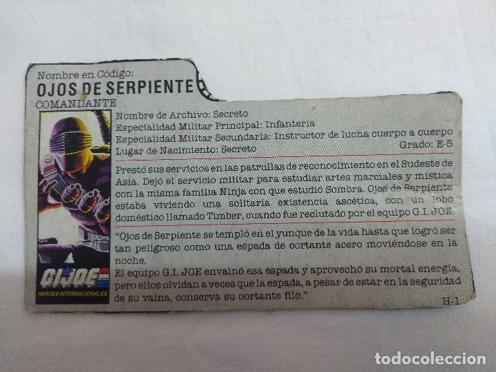 FICHA FIGURA GI JOE/OJOS DE SERPIENTE-COMANDANTE. (Juguetes - Figuras de Acción - GI Joe)