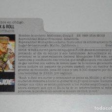 Figuras y Muñecos Gi Joe: GI JOE - FICHA ROCK & ROLL EN ESPAÑOL (AÑOS 80). S_N. Lote 205868703
