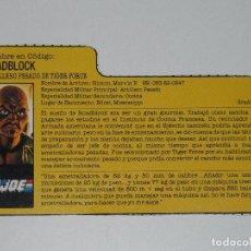 Figuras y Muñecos Gi Joe: GI JOE - FICHA ROADBLOCK TIGER FORCE EN ESPAÑOL (AÑOS 80). S_N. Lote 205868741