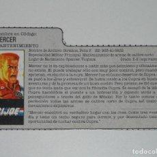 Figuras y Muñecos Gi Joe: GI JOE - FICHA MERCER EN ESPAÑOL (AÑOS 80). JL/S_N. Lote 205868868