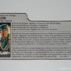 Figuras y Muñecos Gi Joe: GI JOE - FICHA FALCON EN ESPAÑOL (AÑOS 80). S_N. Lote 205868960