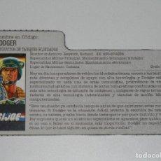Figuras y Muñecos Gi Joe: GI JOE - FICHA DODGER EN ESPAÑOL (AÑOS 80). JL/S_N. Lote 205869151