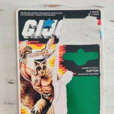 Figuras y Muñecos Gi Joe: FICHA CARTON ORIGINAL GI JOE RAPTOR. Lote 206543532