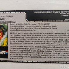 Figuras y Muñecos Gi Joe: FICHA BLISTER (ESPAÑOL) WINDMILL PILOTO SKYSTORM. Lote 211858682