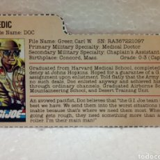Figuras y Muñecos Gi Joe: GI JOE FILECARD BAGGED DOC V.1 DE 1983. MEDIC EN INGLÉS USA.. Lote 212316812